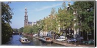 Church along a channel in Amsterdam Netherlands Fine-Art Print
