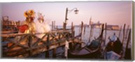Italy, Venice, St Mark's Basin, people dressed for masquerade Fine-Art Print