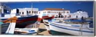 Rowboats on a harbor, Mykonos, Greece Fine-Art Print
