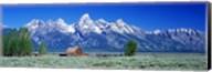 Barn On Plain Before Mountains, Grand Teton National Park, Wyoming, USA Fine-Art Print