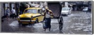 Cars and a rickshaw on the street, Calcutta, West Bengal, India Fine-Art Print