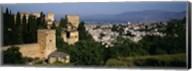 High angle view of palace with a city in the background, Alhambra, Granada, Andalusia, Spain Fine-Art Print