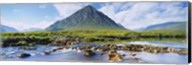 River with a mountain in the background, Buachaille Etive Mor, Loch Etive, Rannoch Moor, Highlands Region, Scotland Fine-Art Print