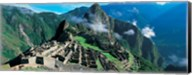 High angle view of ruins of ancient buildings, Inca Ruins, Machu Picchu, Peru Fine-Art Print