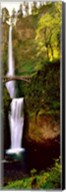Footbridge in front of a waterfall, Multnomah Falls, Columbia River Gorge, Multnomah County, Oregon Fine-Art Print