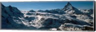 Skiers on mountains in winter, Matterhorn, Switzerland Fine-Art Print