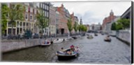 Tourboats in a canal, Amsterdam, Netherlands Fine-Art Print