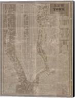 Blueprint Map New York Taupe Fine-Art Print