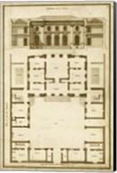 Vintage Building & Plan I Fine-Art Print