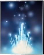 Stars with trails rising from bright white burst of light toward deep blue Fine-Art Print