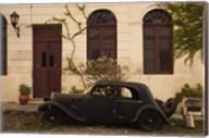 Vintage car parked in front of a house, Calle De Portugal, Colonia Del Sacramento, Uruguay Fine-Art Print