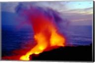 Lava from Volcano Falling into Sea, Big Island, Hawaii Fine-Art Print