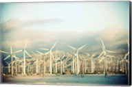 Wind turbines with mountains in the background, Palm Springs, Riverside County, California, USA Fine-Art Print