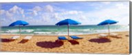 Lounge chairs and beach umbrellas on the beach, Fort Lauderdale Beach, Florida, USA Fine-Art Print