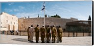 Israeli soldiers being instructed by officer in plaza in front of Western Wall, Jerusalem, Israel Fine-Art Print