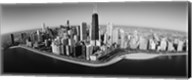 Aerial view of buildings in a city, Lake Michigan, Lake Shore Drive, Chicago, Illinois, USA Fine-Art Print