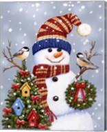 Snowman With Wreath Fine-Art Print