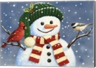 Snowman With Cardinal And Chickadee Fine-Art Print