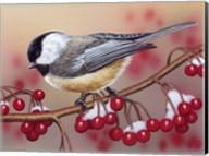 Chickadee With Berries Fine-Art Print