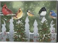 Winter Birds on a Snowy Fence Fine-Art Print