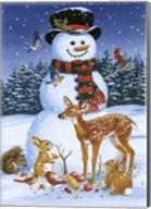 Snowman With Friends Fine-Art Print