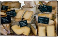 Cheese for sale at a market stall, Lourmarin, Vaucluse, Provence-Alpes-Cote d'Azur, France Fine-Art Print