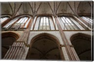 Interiors of a gothic church, St. Mary's Church, Lubeck, Schleswig-Holstein, Germany Fine-Art Print