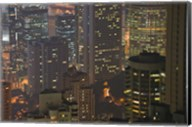 High angle view of buildings lit up at dusk, Central District, Hong Kong Fine-Art Print