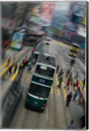 Trams on a road, Hennessy Road, Wan Chai, Wan Chai District, Hong Kong Fine-Art Print