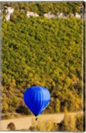 Elevated view of hot air balloon over Dordogne River Valley, Castelnaud-la-Chapelle, Dordogne, Aquitaine, France Fine-Art Print