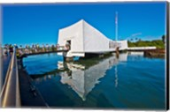 Reflection of a memorial in water, USS Arizona Memorial, Pearl Harbor, Honolulu, Hawaii, USA Fine-Art Print
