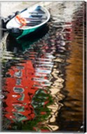 Houses and boat reflected in Lake Como, Varenna, Lombardy, Italy Fine-Art Print