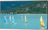 Windsurfers on the lake, Lac de Sainte Croix, Sainte-Croix-Du-Verdon, Provence-Alpes-Cote d'Azur, France Fine-Art Print