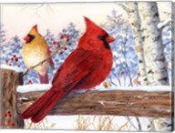 Cardinal Pair with Birch Fine-Art Print