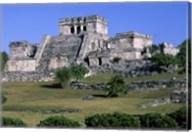 Ancient building ruins, El Castillo, Tulum Mayan Fine-Art Print