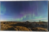 Aurora borealis over the badlands of Dinosaur Provincial Park, Canada Fine-Art Print