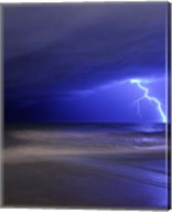 A bolt of lightning from an approaching storm in Miramar, Argentina Fine-Art Print