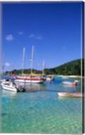 Boats, beach, La Digue, Seychelle Islands Fine-Art Print