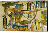 Egypt, hand painted papyrus hunting scene Fine-Art Print
