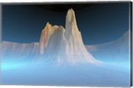 A canyon mountain is surrounded by mysterious blue mist Fine-Art Print