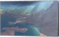 Sunrays shine down on this image of the coastline Fine-Art Print
