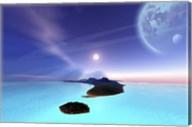 Beautiful cosmic seascape on an alien world Fine-Art Print
