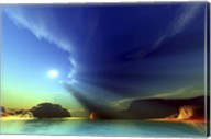 Rays from the sun shine down on this colorful seascape Fine-Art Print