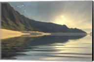 The sun sets on a beautiful mountainside and shoreline Fine-Art Print