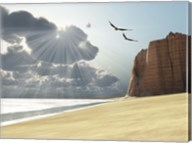 Sunlight shines down on two birds flying near a cliff by the ocean Fine-Art Print