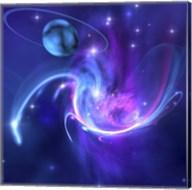 A beautiful nebula and a ringed planet Fine-Art Print