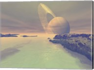 The landscape of Titan, one of Saturn's moons Fine-Art Print