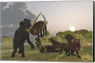A pack of Saber Tooth Cats attack a small Woolly Mammoth Fine-Art Print