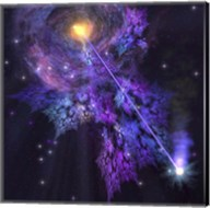 A shooting star radiates out from a black hole in the center of a galaxy Fine-Art Print