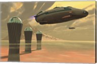 Two spacecraft takeoff from a colony on a desert planet Fine-Art Print